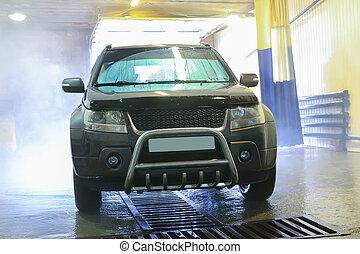 automático, ligado, lavagem carro