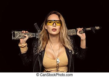 automático, loura, mulher, rifle, perigosa, excitado