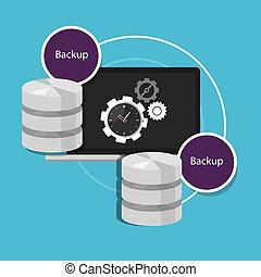 automático, reserva, base de datos, máquina, protección de los datos