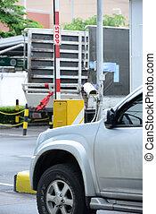 automático, veículo, segurança, barreiras, com, câmera segurança