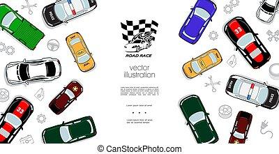 automóveis, topo, coloridos, modelo, vista
