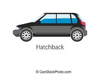 automóvel, isolado, ilustração, realístico, vetorial, white., hatchback