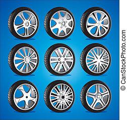 automóvel, liga, baixo, perfil, rodas, roda, pneus