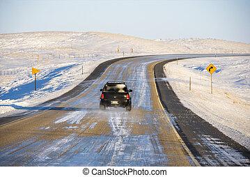 automóvel, ligado, gelado, road.