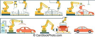 automóvel, linha, montagem, esperto, robotic