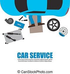 automóvel, mecânico carro, sob, mecânico, garagem, serviço, ...