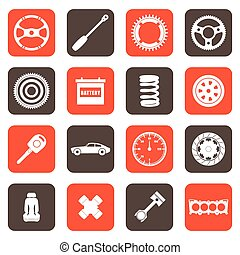 automóvel, partes, relatado, ícones