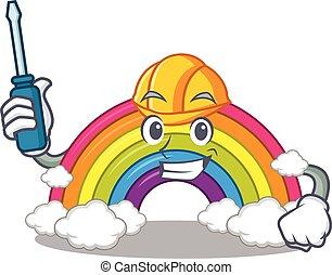 automóvel, personagem, arco íris, trabalhado, caricatura