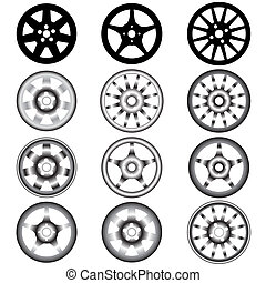 automóvel, roda, com, liga, rodas