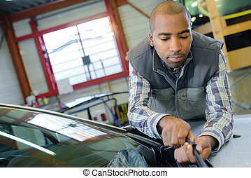 automóvel, técnico, no trabalho