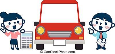 automóvel, vendas, ilustração