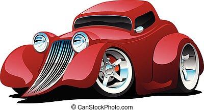 automóvil arreglado rojo, restomod, cupé, caricatura, coche, vector, ilustración