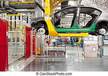 automóvil, asamblea, tienda