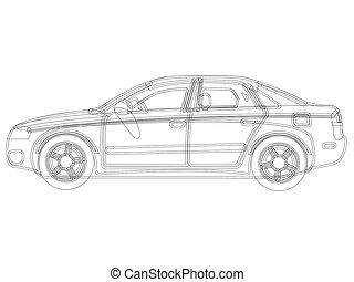 automóvil, bosquejo, vector