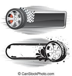automóvil, carrera, elemento