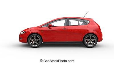 automóvil compacto, rojo