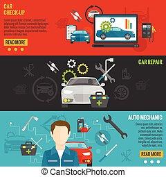 automóvil, conjunto, bandera, mecánico