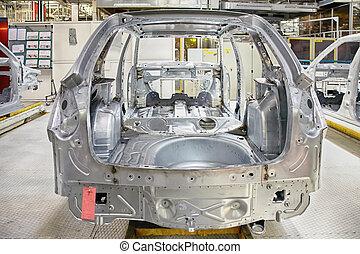 automóvil, cuerpo, en, fábrica de automóviles