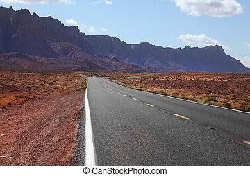 automóvil, desierto, camino