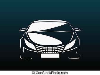 automóvil, en, oscuridad