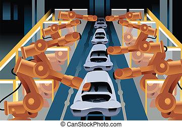 automóvil, línea, asamblea