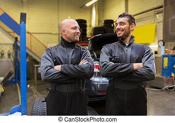 automóvil, mecánica, o, neumático, changers, en, coche, tienda