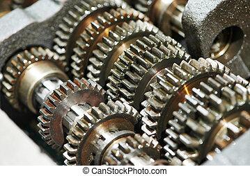 automóvil, motor, o, transmisión, engranaje, caja