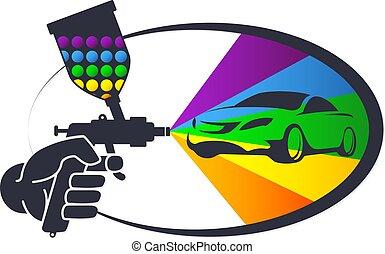 automóvil, pintura de espray
