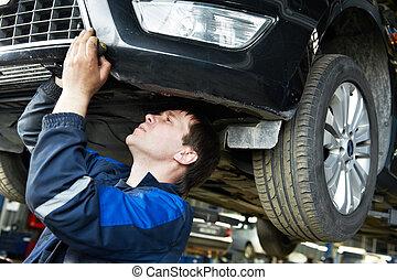 automóvil, reparación coche, mecánico, en el trabajo