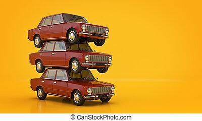 automóvil, retro., 3d, interpretación