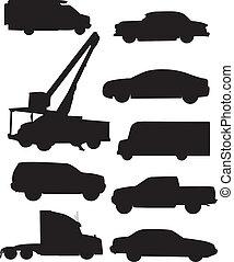 automóvil, siluetas