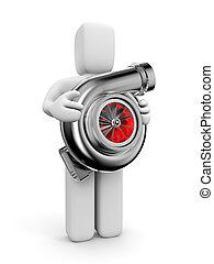 automóvil, turbina, turbocharger., persona