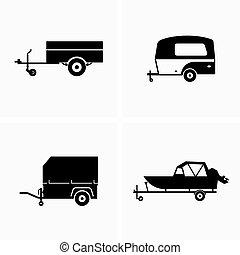 automóvil, utilidad, remolque, carga
