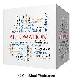 automação, 3d, cubo, palavra, nuvem, conceito