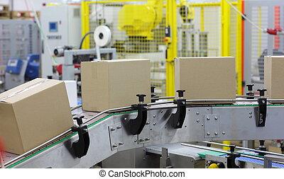 automação, -, caixas, ligado, correia transportadora
