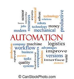 automação, palavra, nuvem, conceito