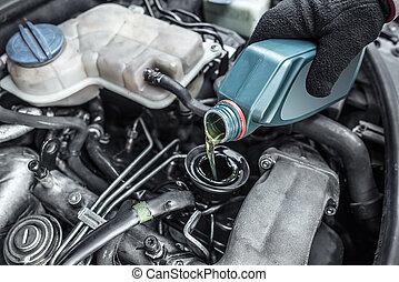 automaster, topp uppe, den, olja, i en bil, engine.