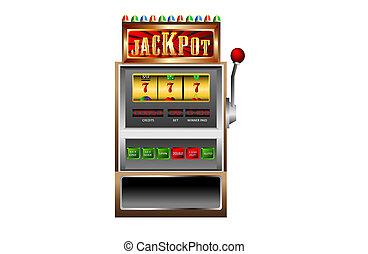 automat, 777, jackpot, vektor, krank