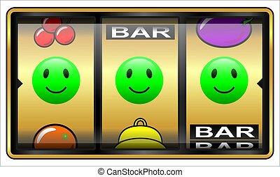 automat, glücklich, gluecksspiel