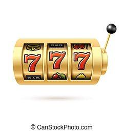 automat, mit, glücklich, sevens, jackpot