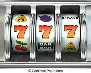 automat, mit, jackpot., kasino, concept.