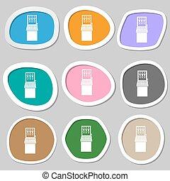 automat, symbols., mehrfarbig, papier, stickers., vektor