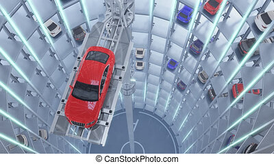 Automated car parking system. High quality 4K animation. - ...