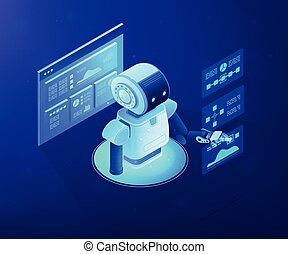 Automated data analysis concept vector isometric illustration.