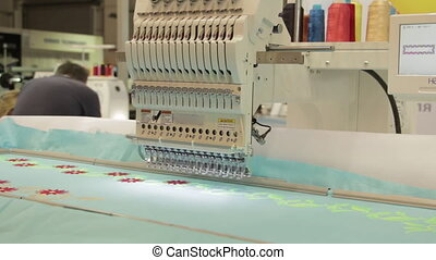 Automated Embroidery Thread Machine On Factory. Automated...