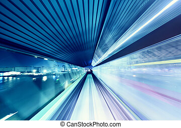 Automated guide-way train at night - Tokyo automated...