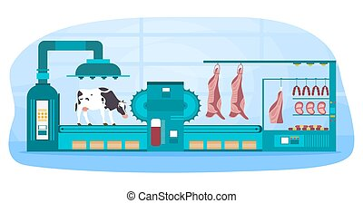 Automated meat production process. Slaughter procedure. Steaks and sausages on the machinery line. Cartoon flat vector illustration