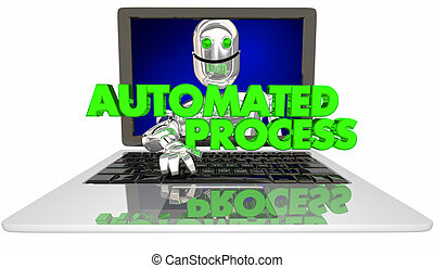 Automated Process Robot Laptop Computer AI 3d Illustration