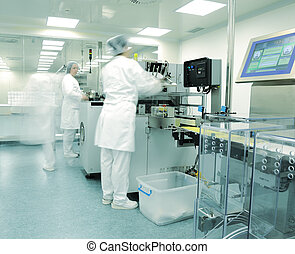 Automated production line in modern drug factory