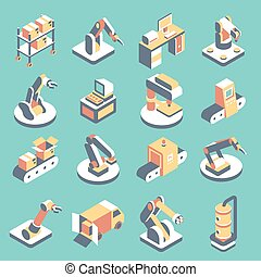 Automated production line vector flat isometric icon set